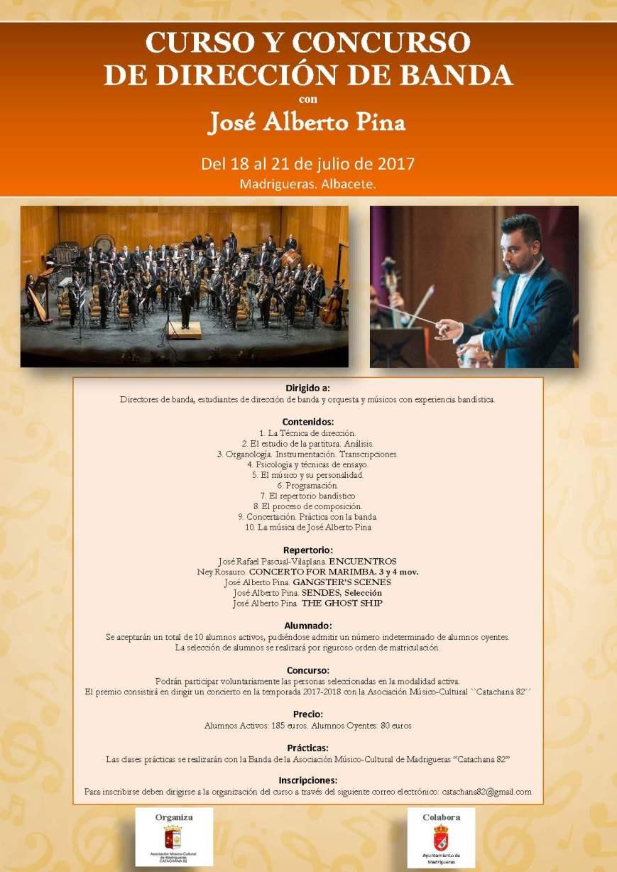 V Curso y Concurso de Dirección. José Alberto Pina. Madrigueras 2017. Cartel